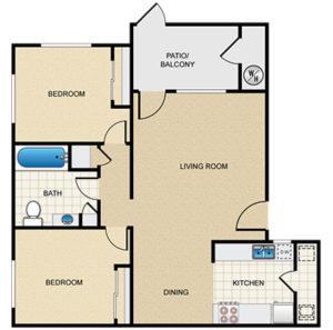 2 bed 1 bath floor plan, living room, dining room, kitchen, patio/balcony, 2 closets