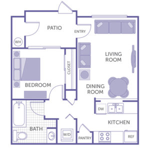 1 bed 1 bath, Kitchen and pantry, Dining room, Living room, Patio, washer and dryer, 1 closet